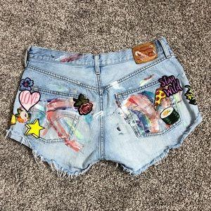 Vintage high waist patchwork levi jean shorts